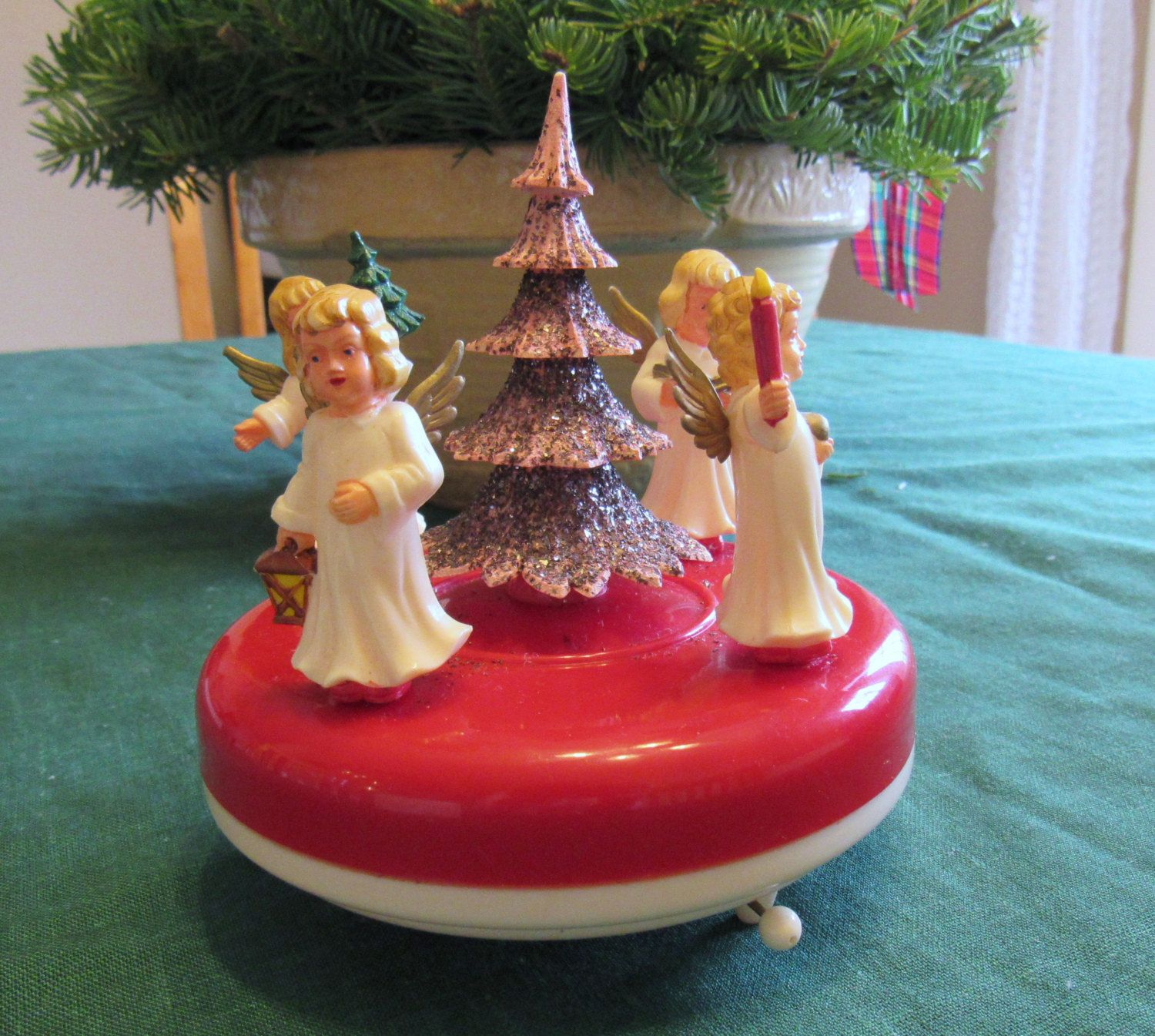 Music Box Western Germany Angels Spinning Around A Pink Christmas Tree Ges Gesch Pink Christmas Tree Pink Christmas Christmas Items