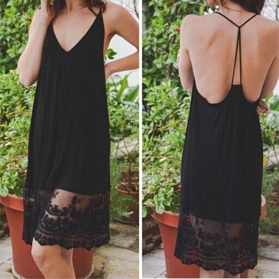 Black Patchwork Lace Condole Belt V-neck Sleeveless Midi Dress