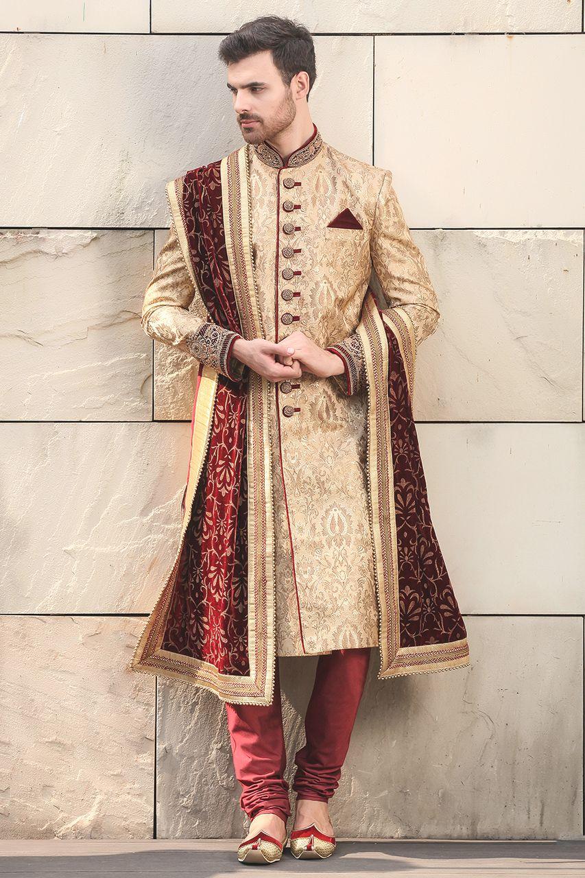 59e56243c4 Exquisite Classic Embroidered Sherwani - Designer Wedding Sherwani for Men  - Manyavar