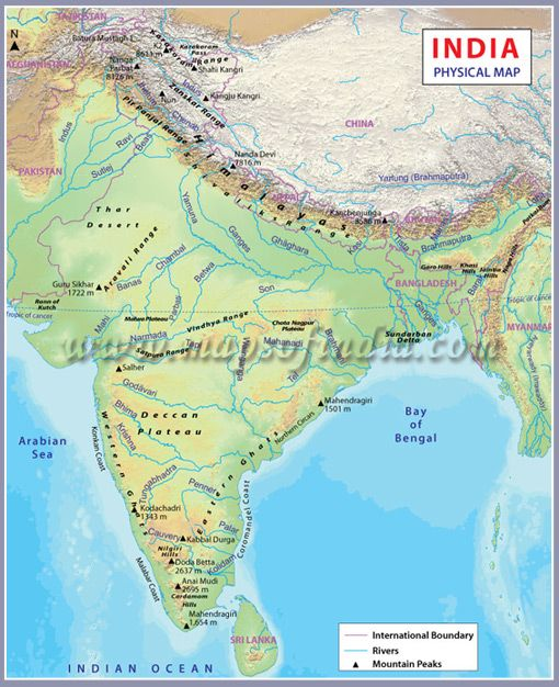 India Physical Map Maps In 2019 India Map Geography Map