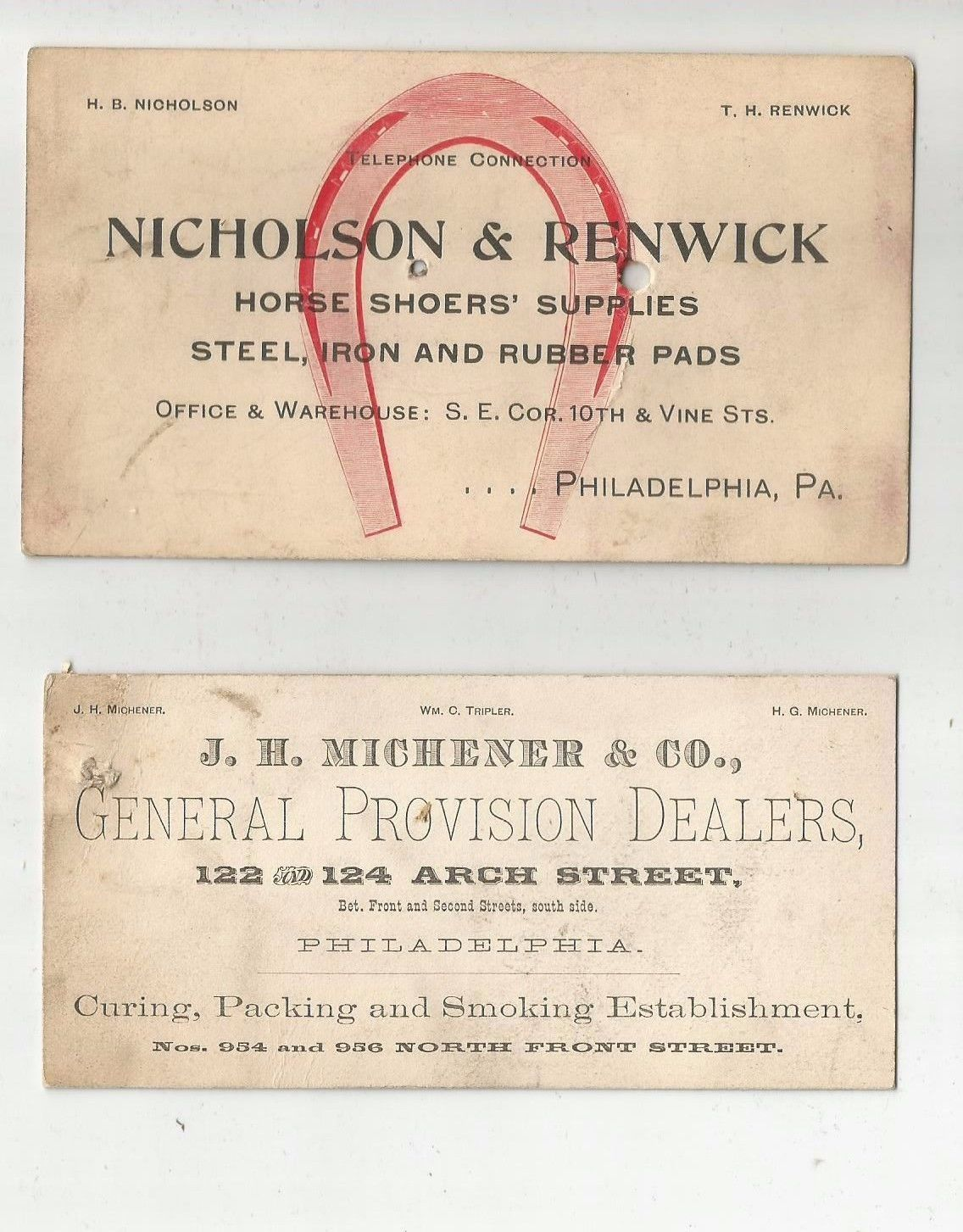 1900s philadelphia pa horse shoers michener provisions trade 1900s philadelphia pa horse shoers michener provisions trade business cards ebay magicingreecefo Images