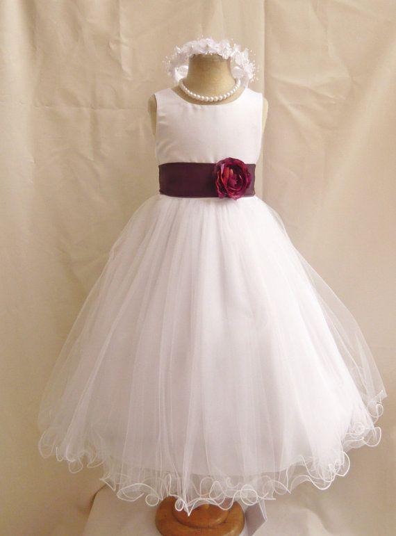 Flower Girl Dress WHITE/Purple Plum FL Wedding by NollaCollection ...