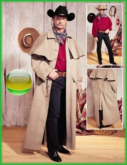 Butterick 3830 19thc Old West Cowboy Duster Trenchcoat Pattern Costume Sewing Patterns Mens Historical Costumes Shirt Sewing Pattern