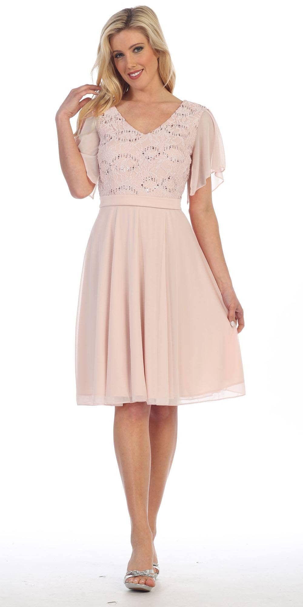 V-Neck Lace Bodice Chiffon Flared Sleeves Knee-Length Dress Burgundy ...