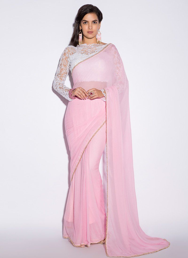 White and Pink Embroidered Saree features a gorgeous georgette saree  alongside a net blouse. Embroidery work is completed with sequins and  thread work. fd4011cff2