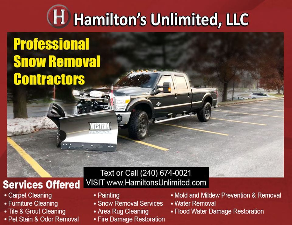 Snow Removal Service Frederick MD  For snow problems this winter season, you can count on Hamilton's Unlimited, your most trusted snow removal contractor in Frederick, MD! . . . Professional Snow Removal Contractor in Frederick County, MD Hamilton's Unlimited, LLC | (240) 674-0021 www.HamiltonsUnlimited.com #maryland #snowremoval #snowremovalservices