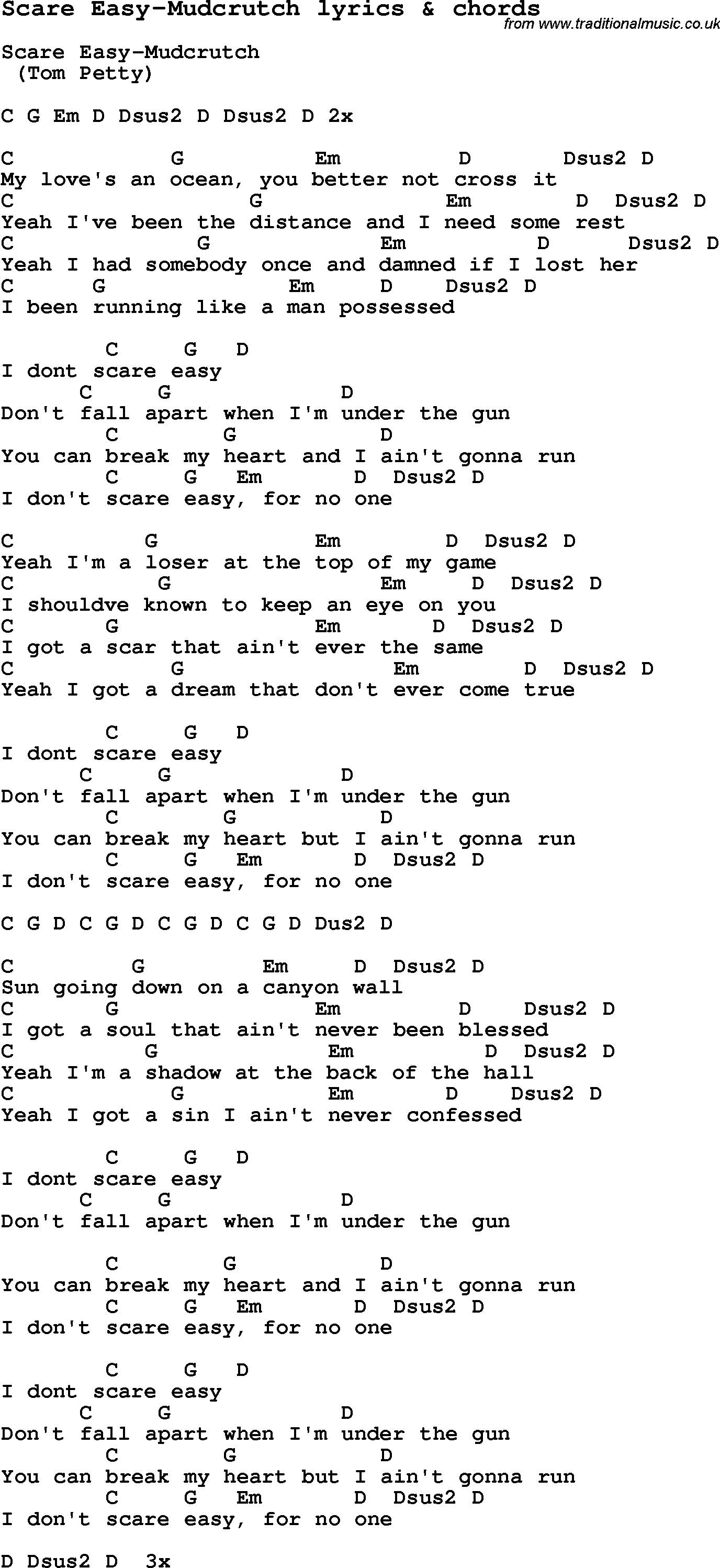 Love Song Lyrics For Scare Easy Mudcrutch With Chords For Ukulele