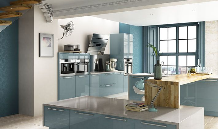 Esker azure gloss kitchen furniture and for Wickes kitchen designs