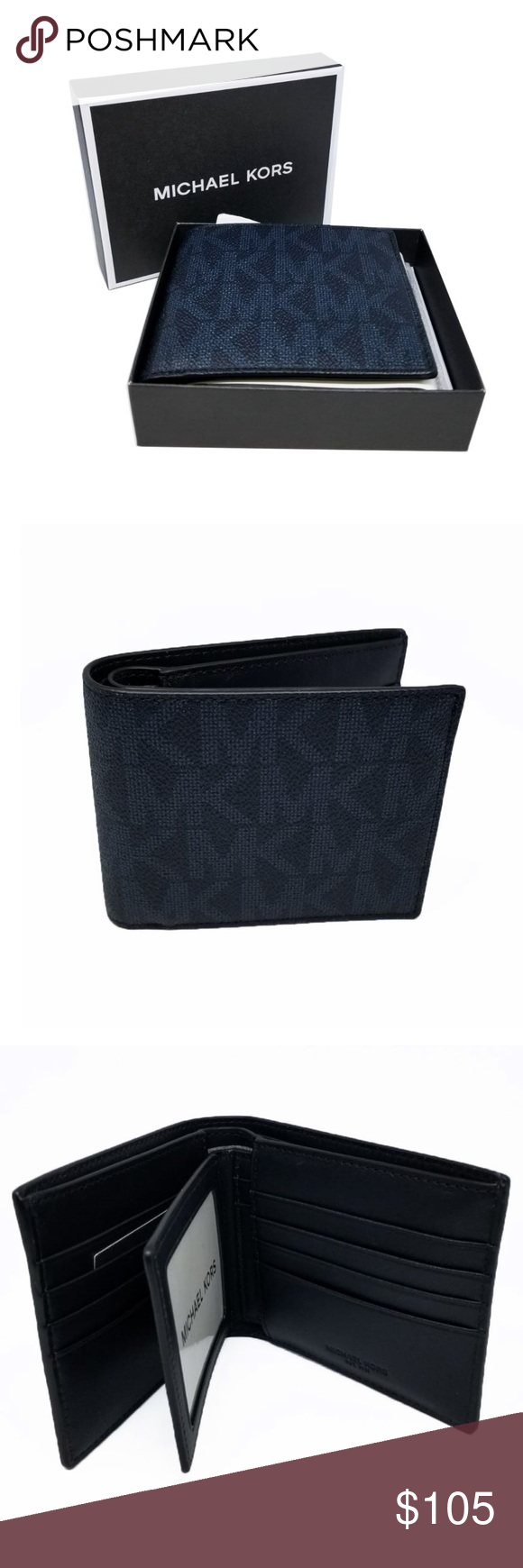 ed61f25d1055 Michael Kors Jet Set Men's Billfold/Passcase Men's bifold wallet with  subtle blue monogram print