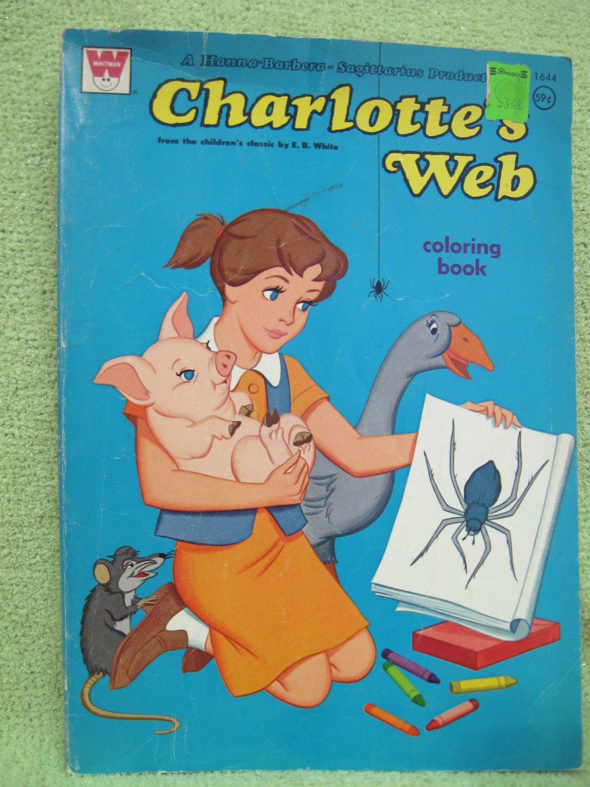 Charlottes Web Vintage Coloring Book 1973 Hanna Barbera Movie Cartoon Original