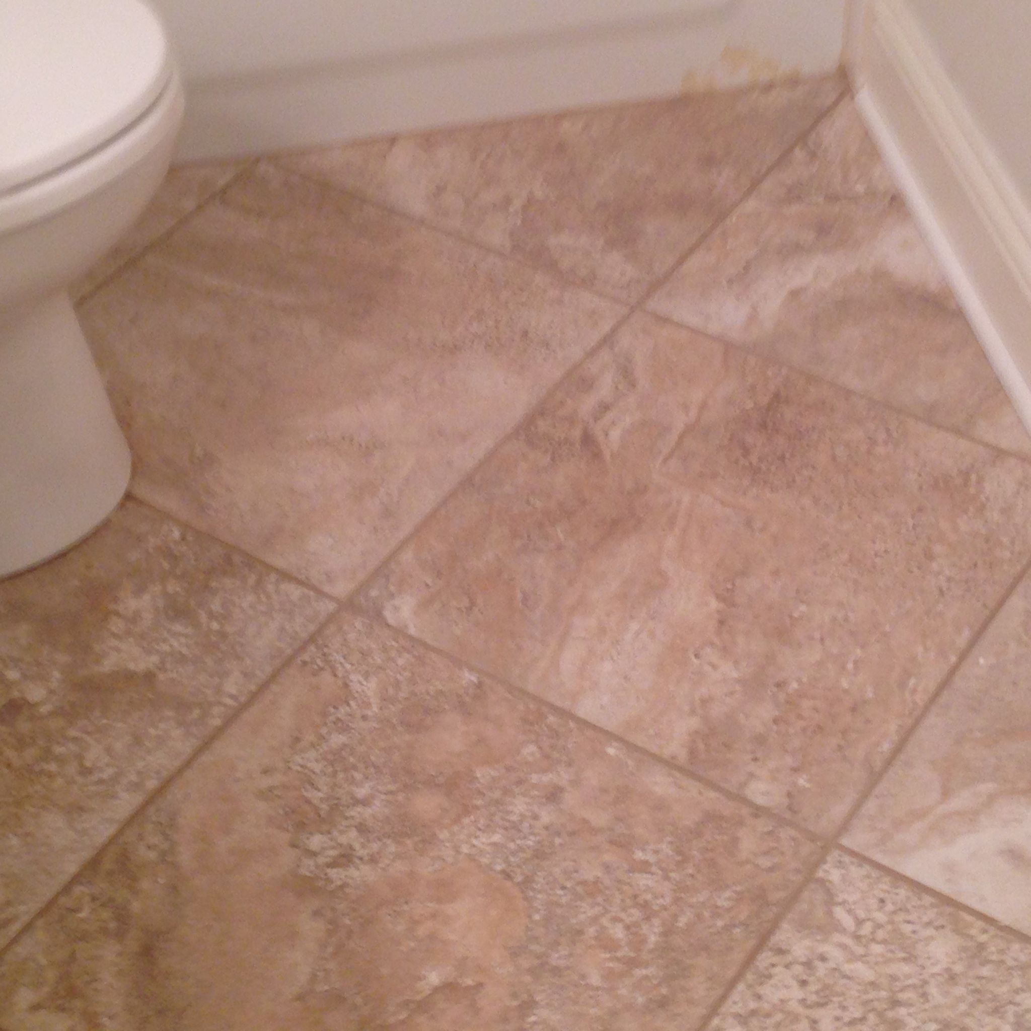 20x20 Tile Laid On Diagonal In Small Bathroom