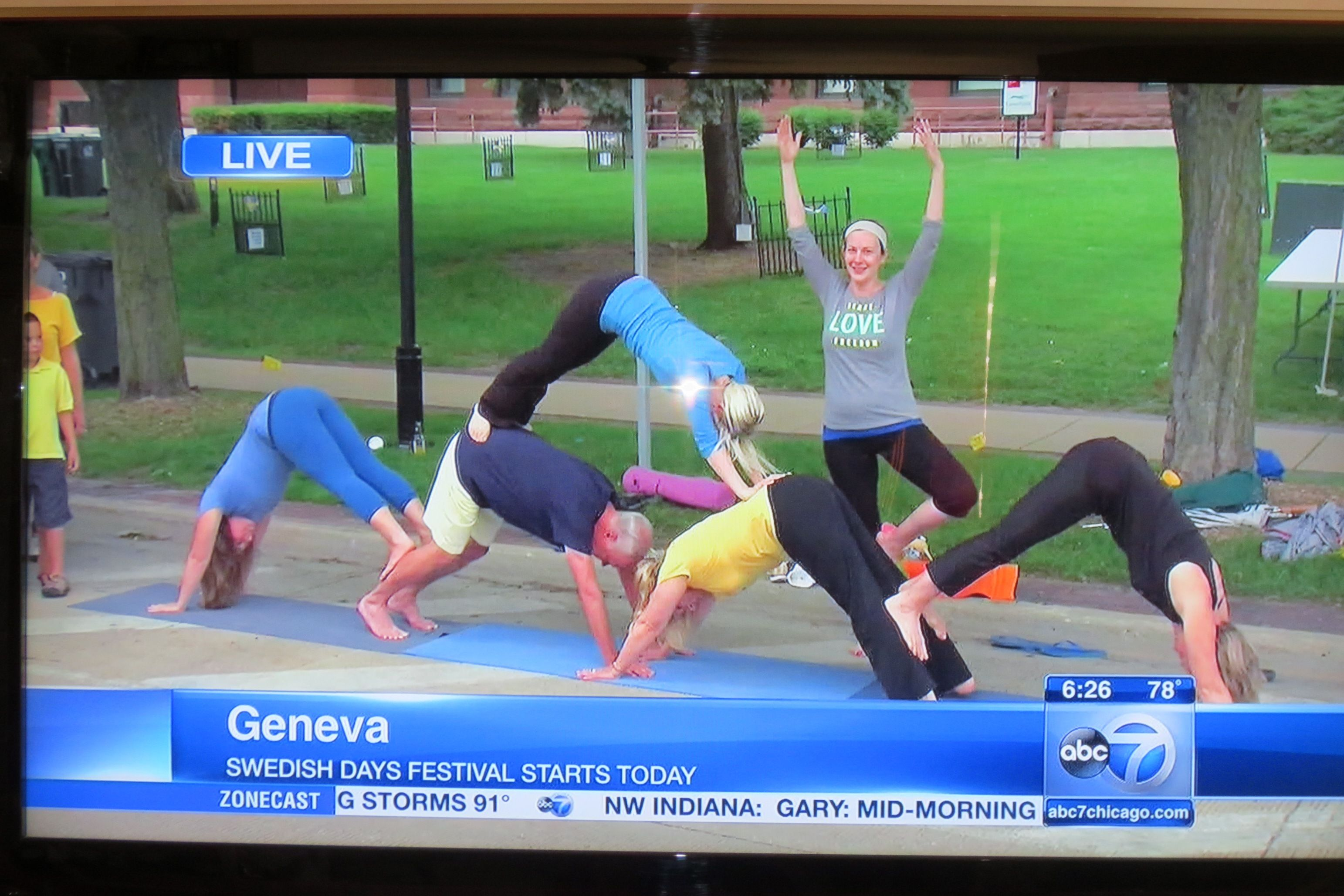 Kicking off Geneva's annual Swedish Days on ABC Channel 7 with Happy Place students having fun with yoga in front of the historic courthouse!