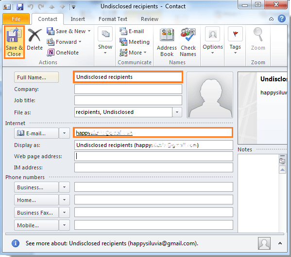 How To Send An Email To Undisclosed Recipients In Outlook Book Names Internet E Job Title