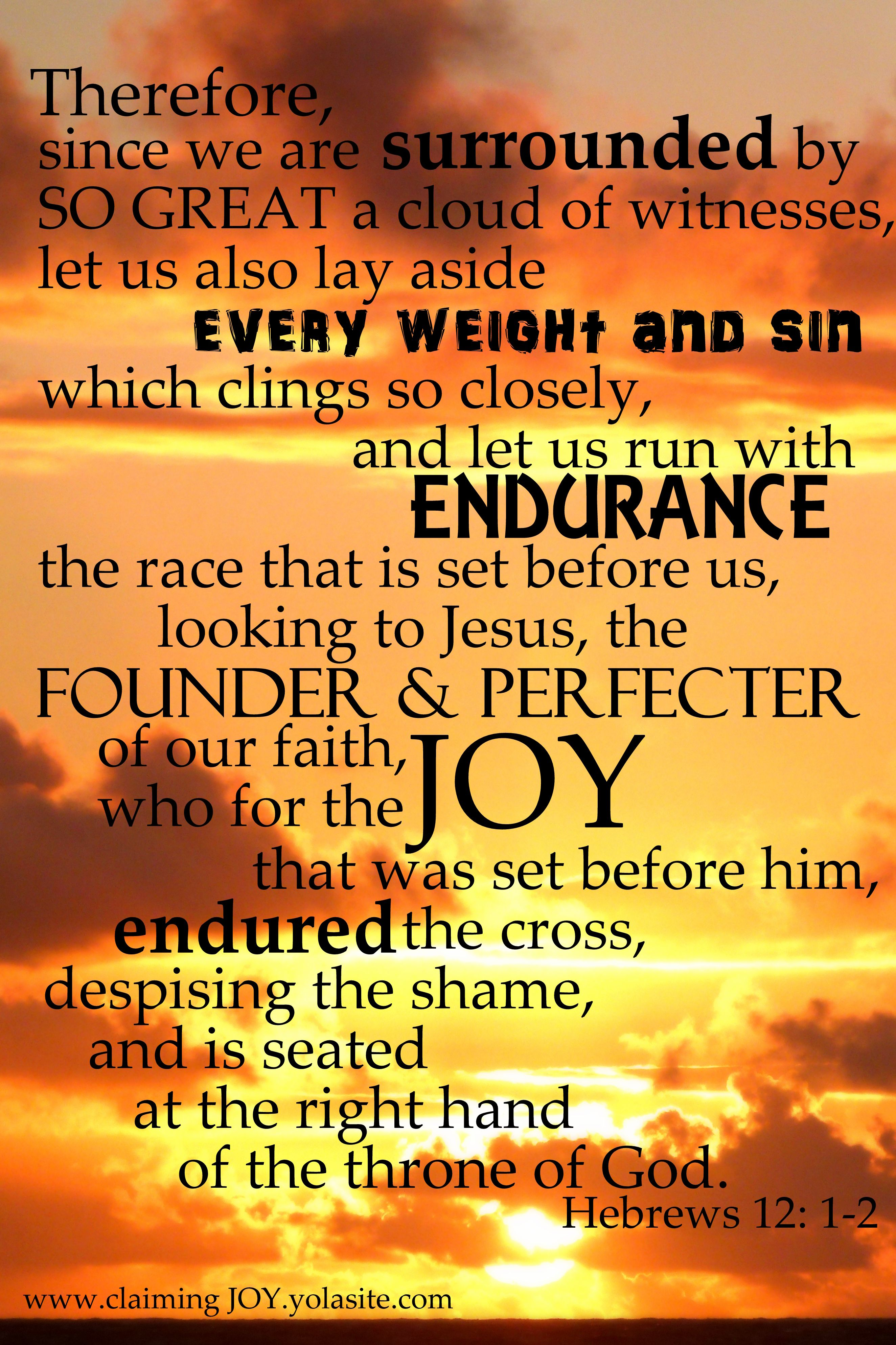 Hebrews 12:1-2 ~ Looking to Jesus the Author and Perfecter of our ...