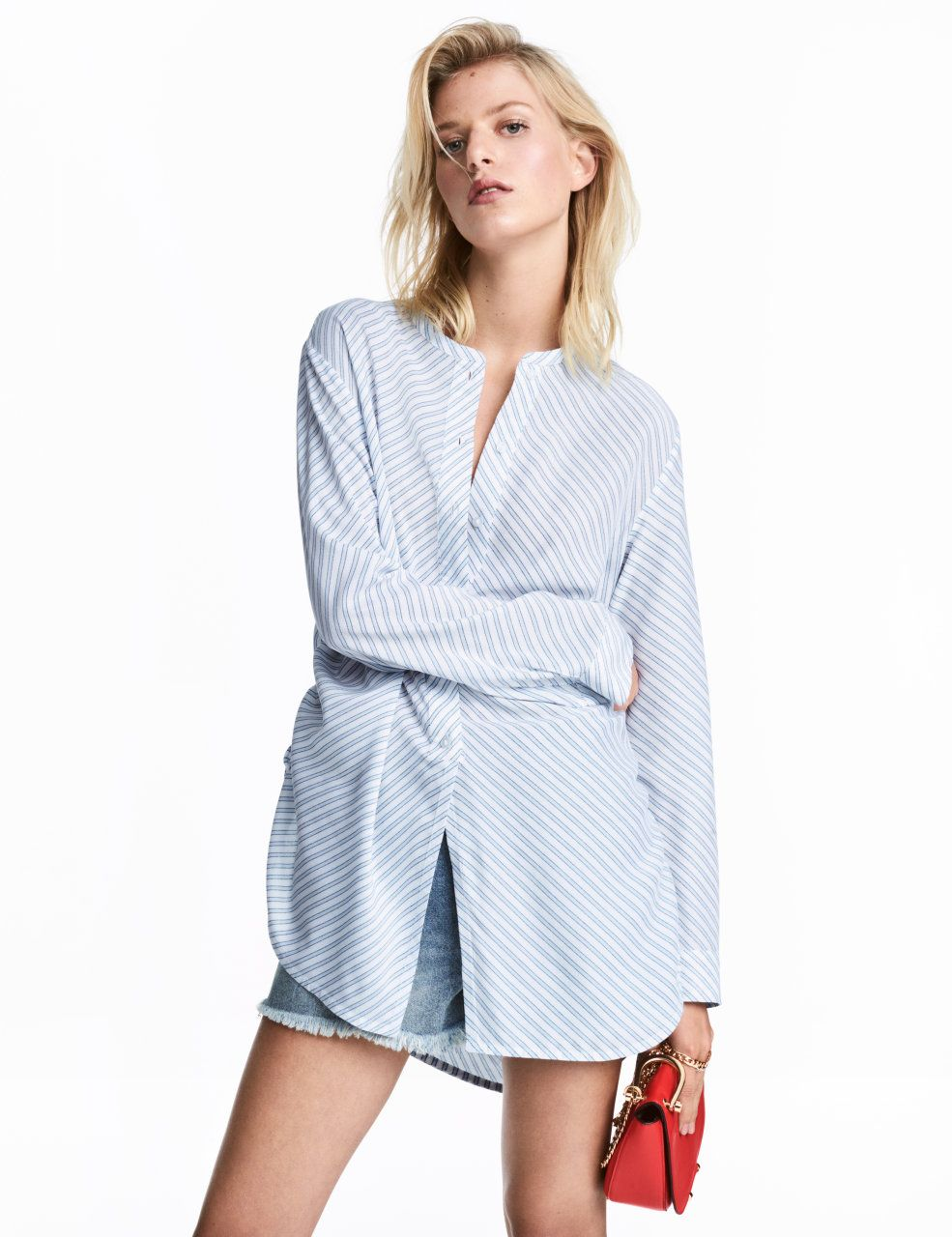 Check this out straightcut blouse in woven fabric with a small