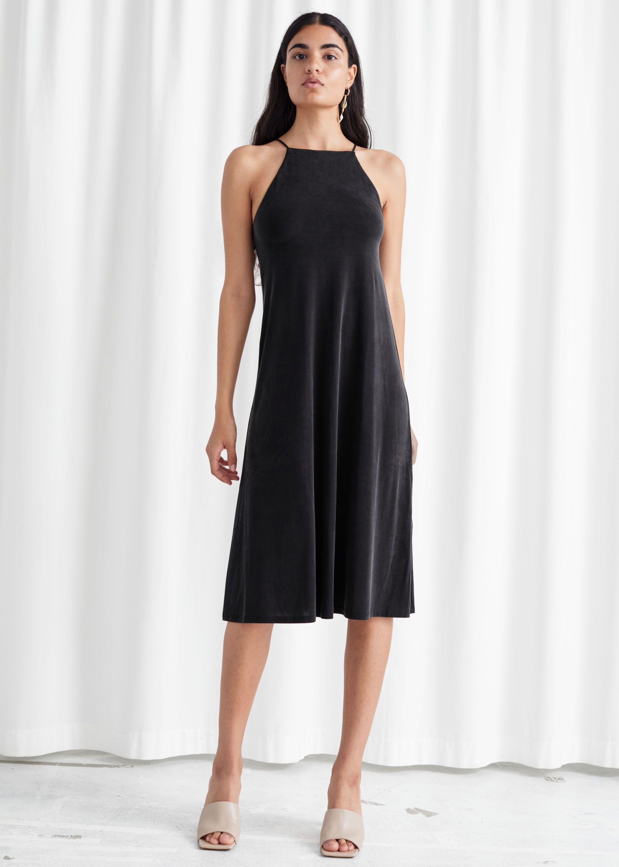 Flowy Square Neck Midi Dress Midi Dress Dresses Black Midi Dress [ 2940 x 2100 Pixel ]