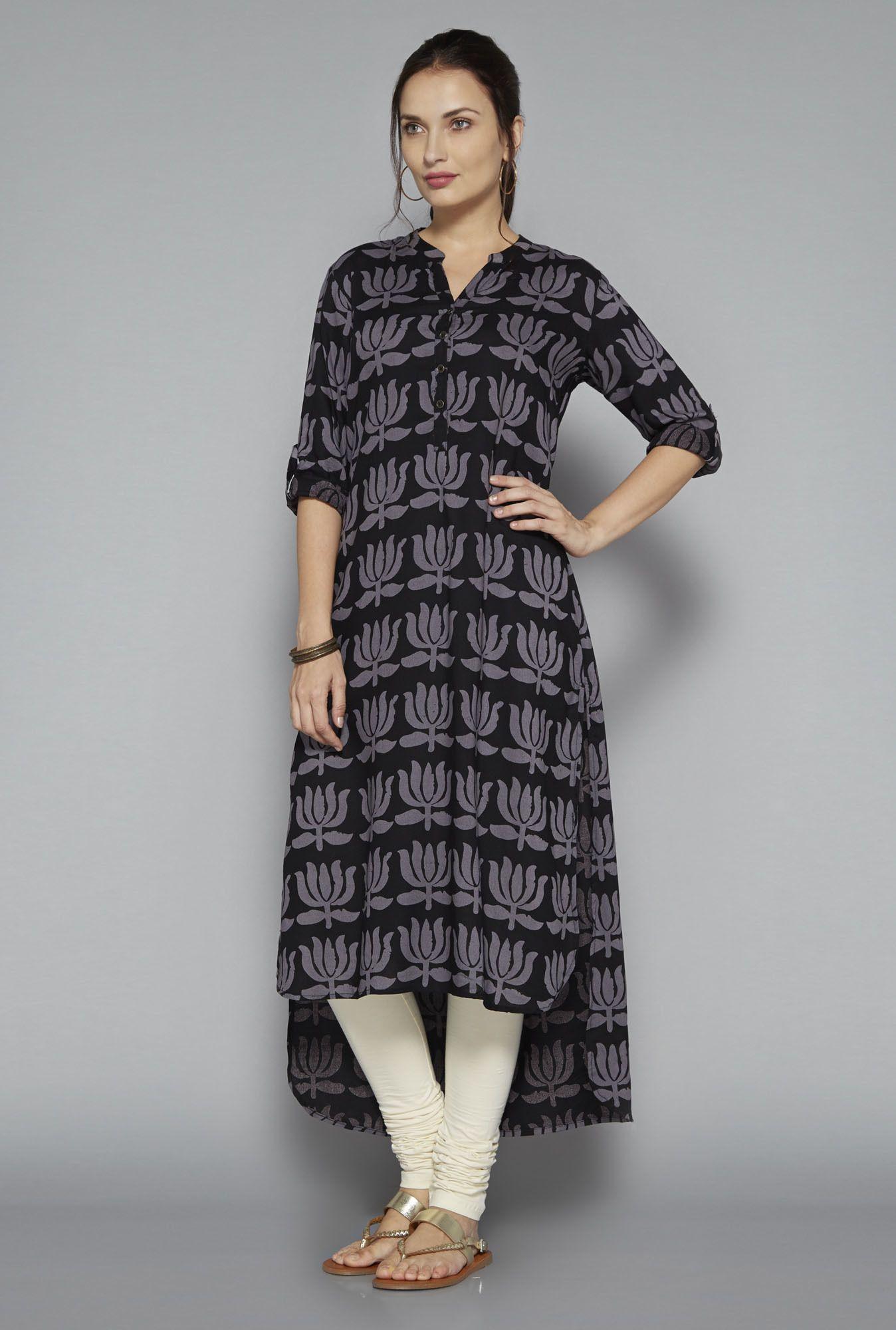 1aff66a6da Black Viscose 3/4th Sleeves Floral Print Kurta #Kurta #Black #Viscose  #3/4th Sleeves