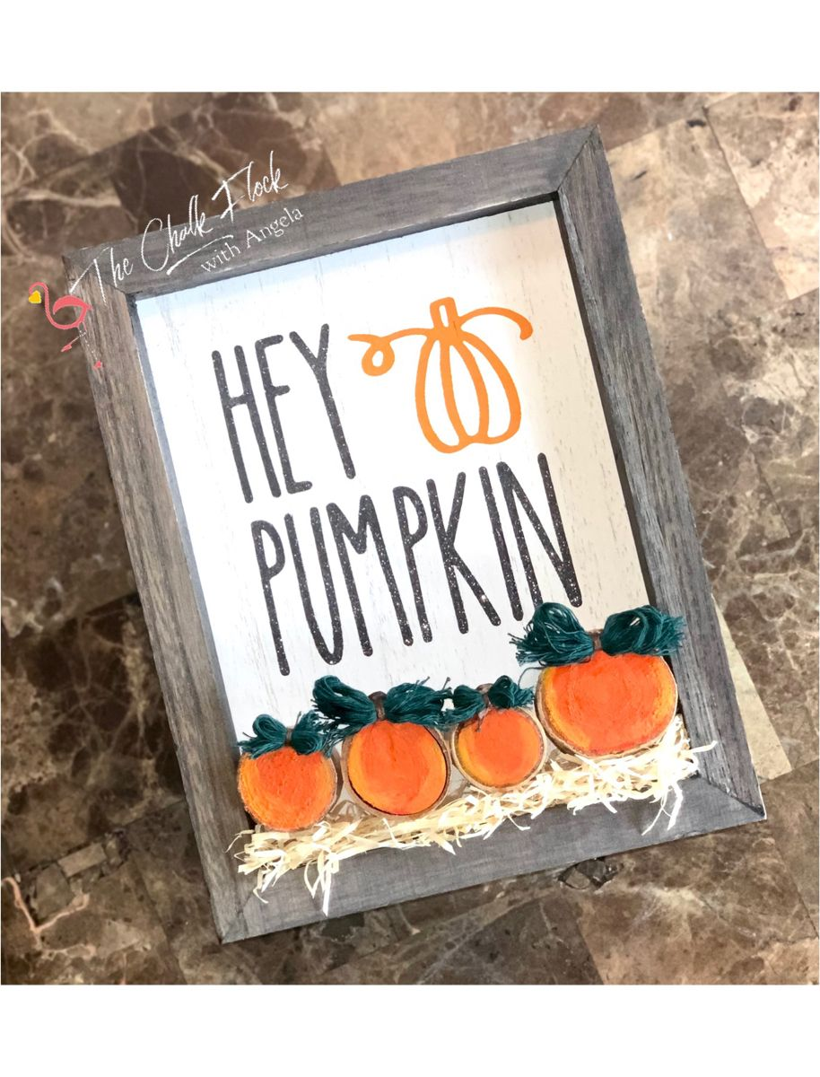 Used the halloween phrases chalk couture transfer and painted wood slices to make this one! #diy #chalkcouture #chalkcouturedesigner #boxframes #woodslices #woodsignshop #diysign #handmadehomedecor #diyhomedecor #diyhomecrafts #halloweendecor #falldecor #falldecorideas #falldecordiy