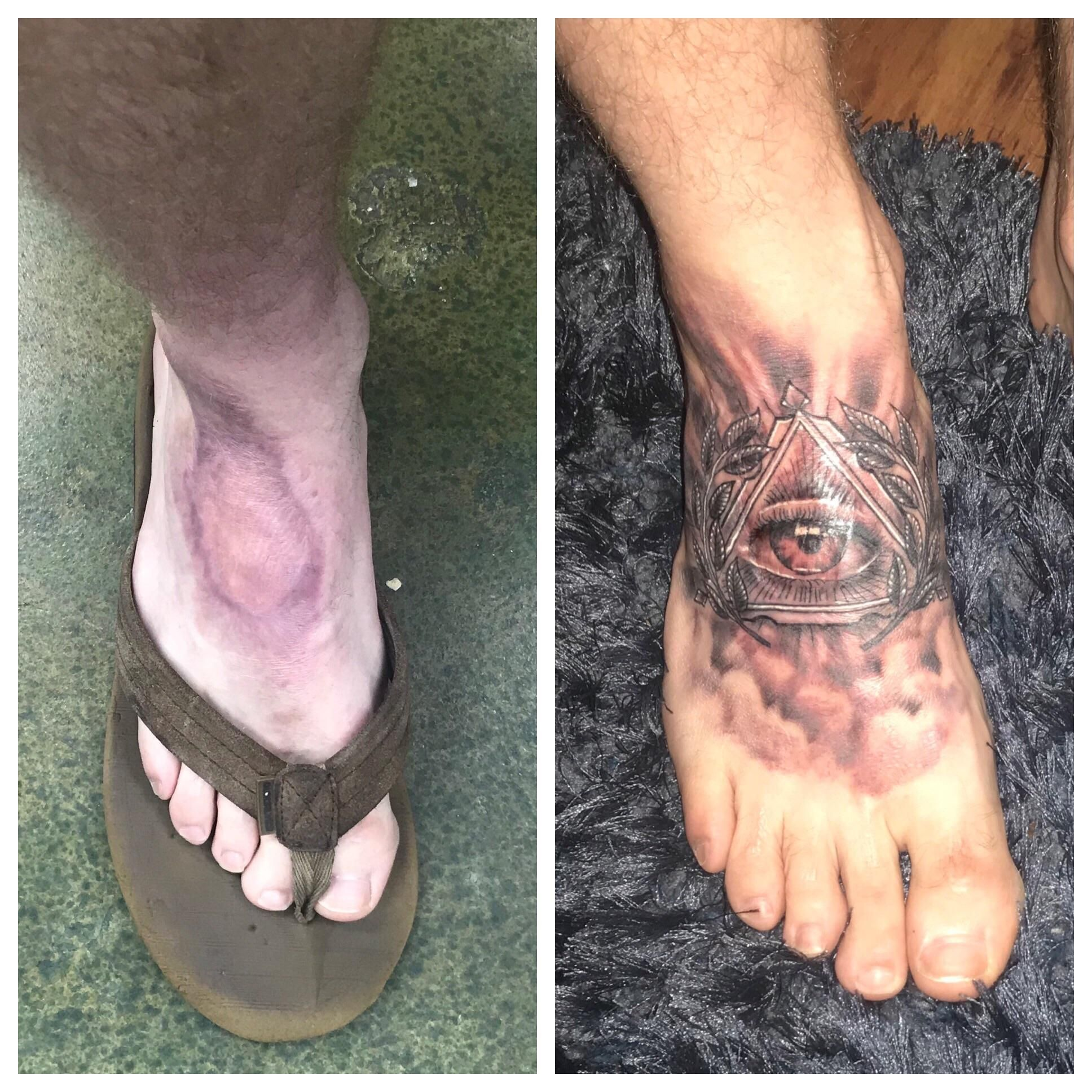 Eye of providence gnarly foot scar cover up done by