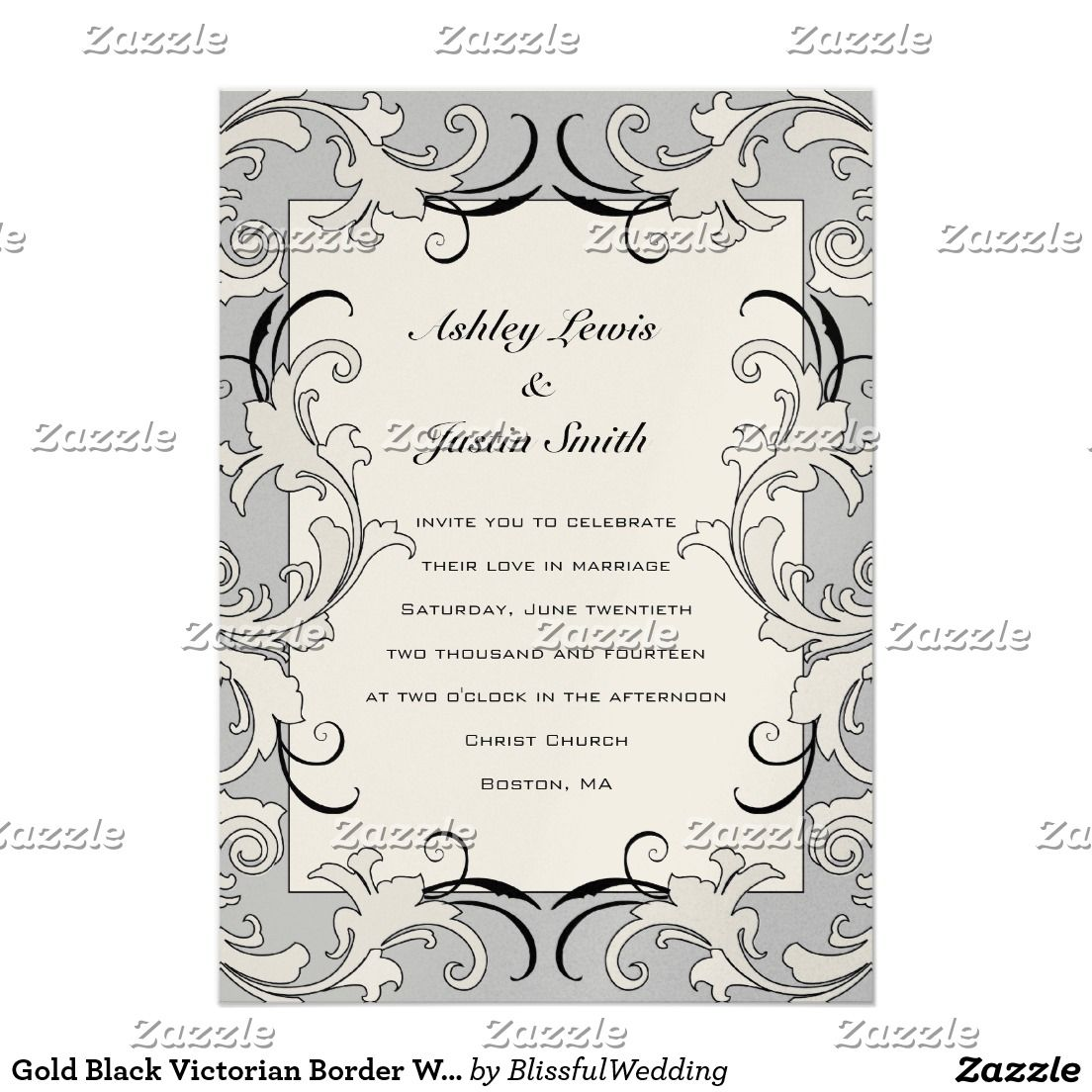 Gold Black Victorian Border Wedding Invitation Steampunk Wedding Invitation Modern Wedding Invitation Wording Wedding Invitation Templates