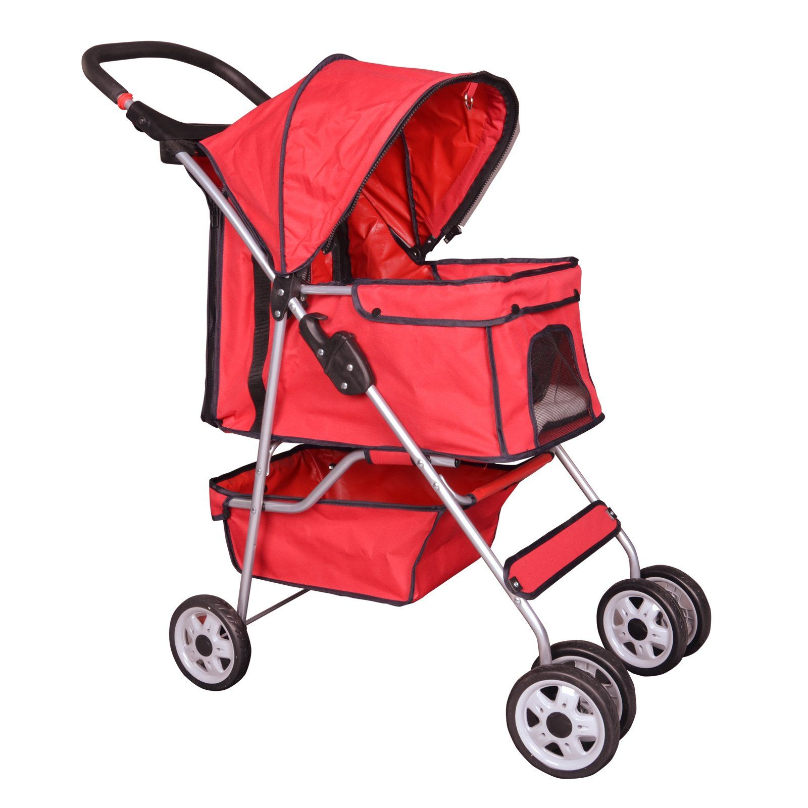 BestPet Red 4 Wheels Pet Stroller Cat Dog Cage Stroller