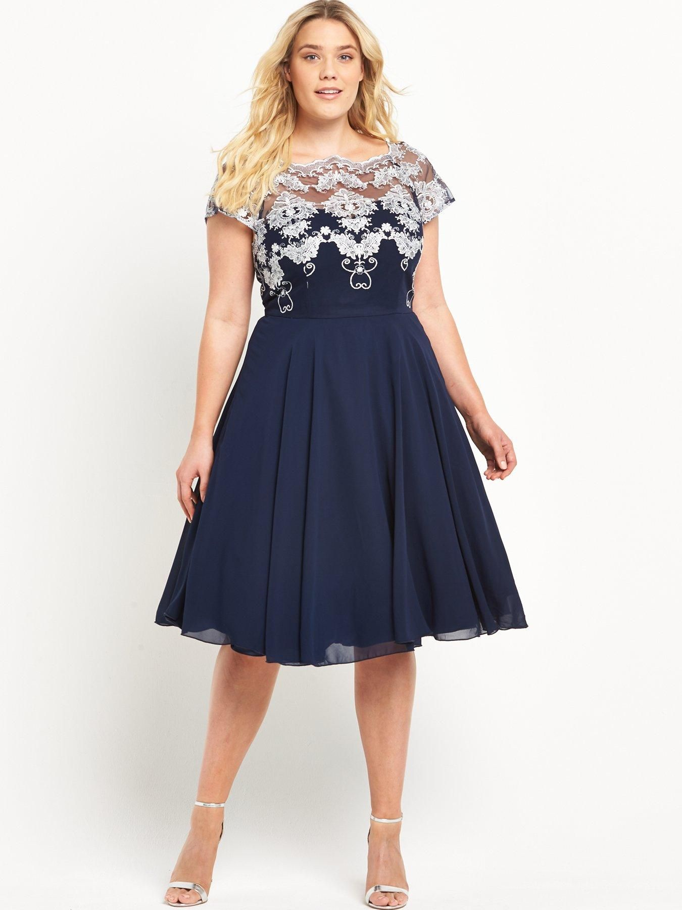Chi Chi London Curve Curve Embroidered Lace Top Full Midi Dress ...