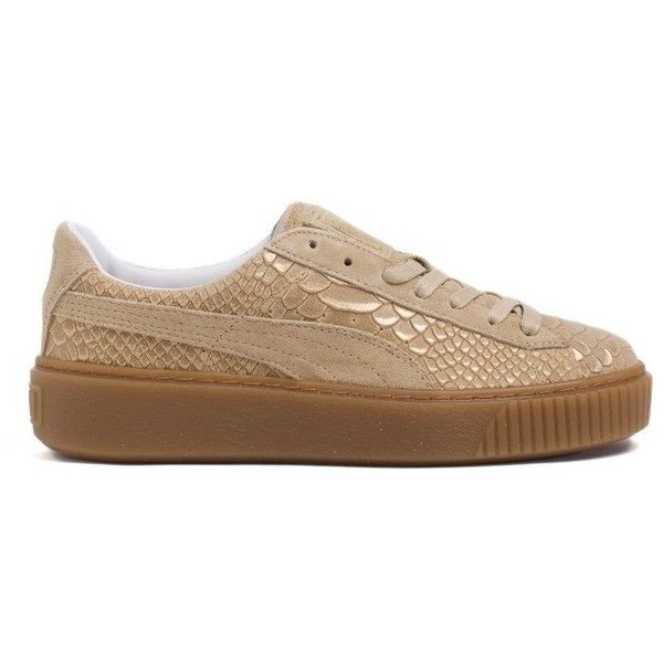 a055fc71b2fa7 Puma Snake Print Sneakers (€130) ❤ liked on Polyvore featuring shoes,  sneakers, cammello, beige shoes, genuine leather shoes, python shoes, ...