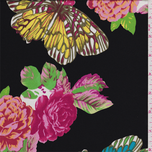 Black Background With A Large Fl And Erfly Print In Vibrant Shades Of
