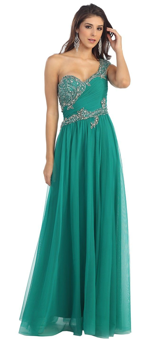 Arabian Nights style? MAYRQ7110EG EMERALD GREEN Beaded One Shoulder ...