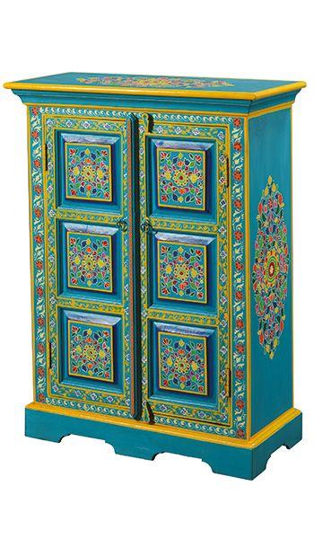 Handpainted Indian Cupboard Furniture Unique Repurposed Design Painted