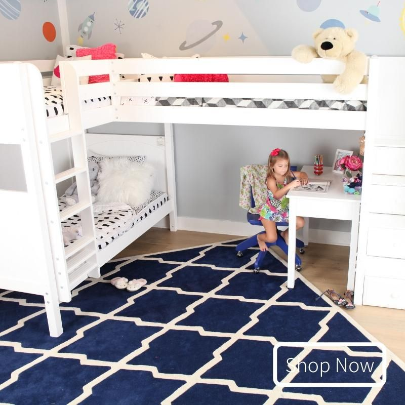 Twin High Corner Loft Bunk Bed With