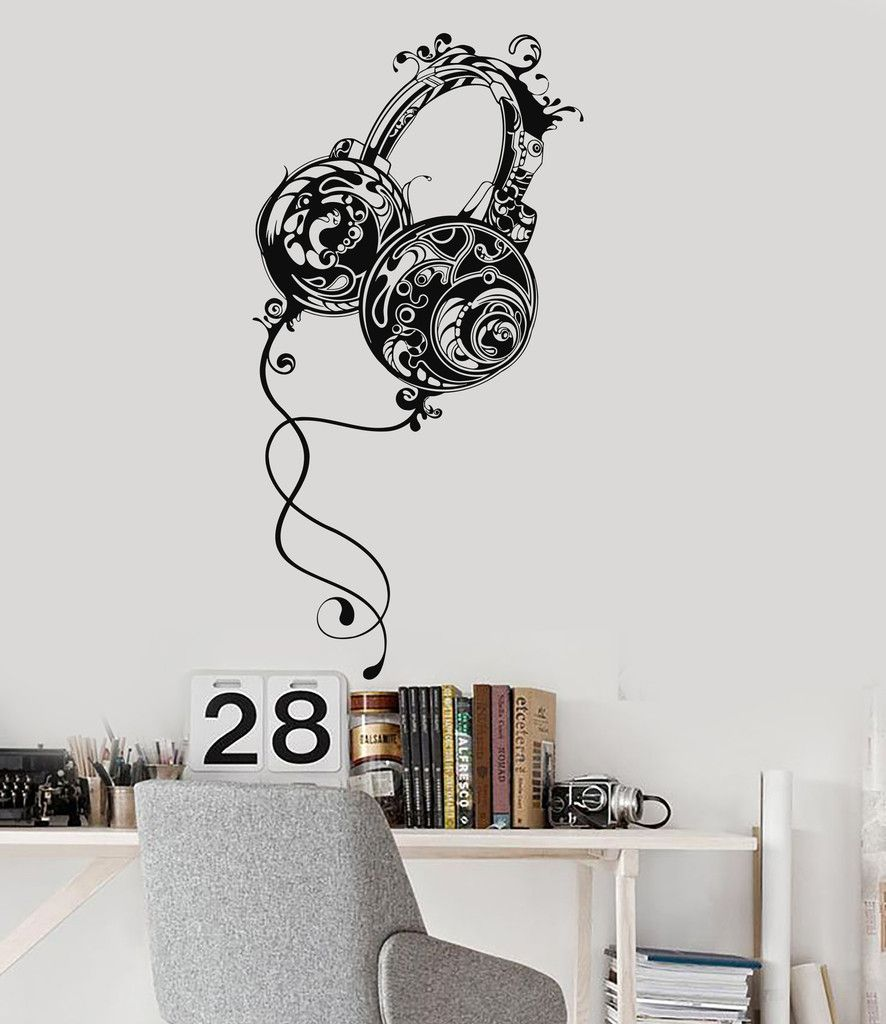 . Vinyl Wall Decal Headphones Teen Room Music Pattern Boys Stickers
