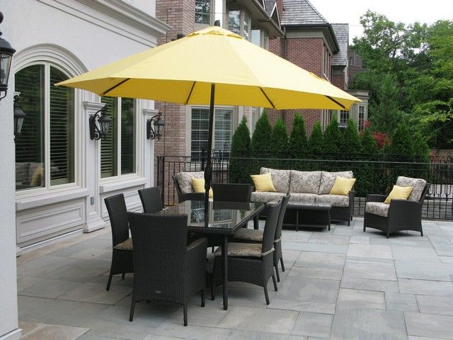Patio Furniture Sets With Yellow Umbrella And Black Chair Cushions