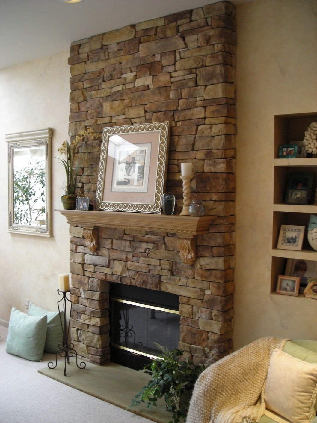 Architecture Living Room Decoration Amazing Natural Exposed Stone Wall With Wooden Booksh Stone Fireplace
