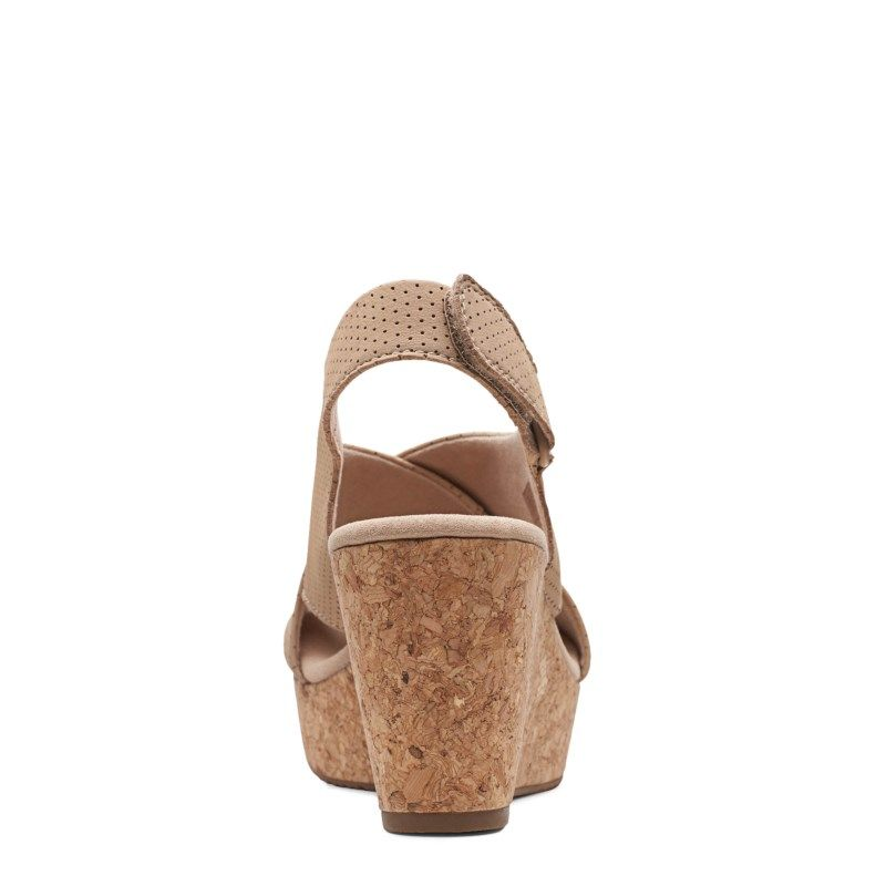 Clarks Women's Annadel Parker Medium/Wide Wedge Sandals (Sand Nubuck)
