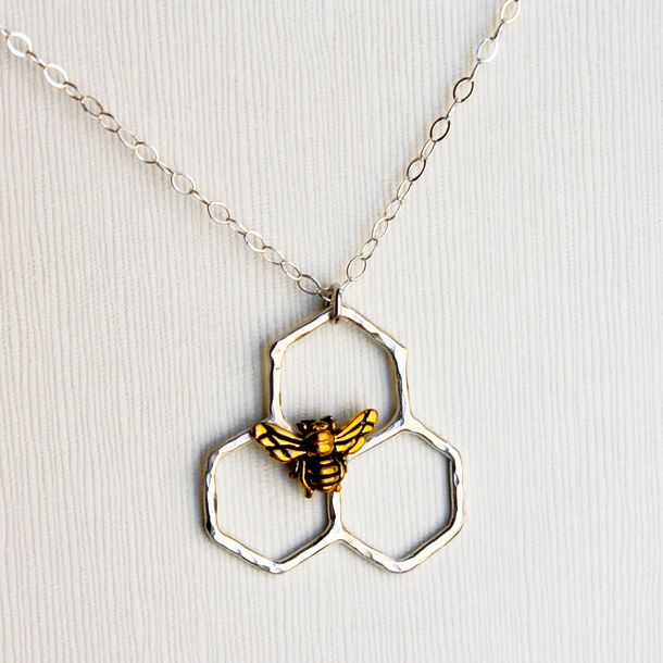 Mini Honeycomb Necklace Silver
