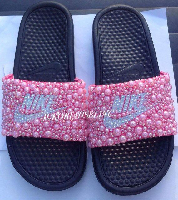 online store 93e04 fbb89 Bling nike slides nike shoes accessories by Jukoriahsbling on Etsy