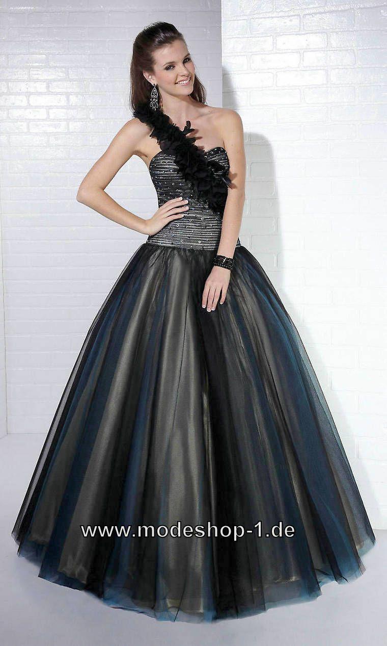 Ballkleid Abendkleid Lang in Schwarz mit Tüll 194 € www.modeshop-1 ...