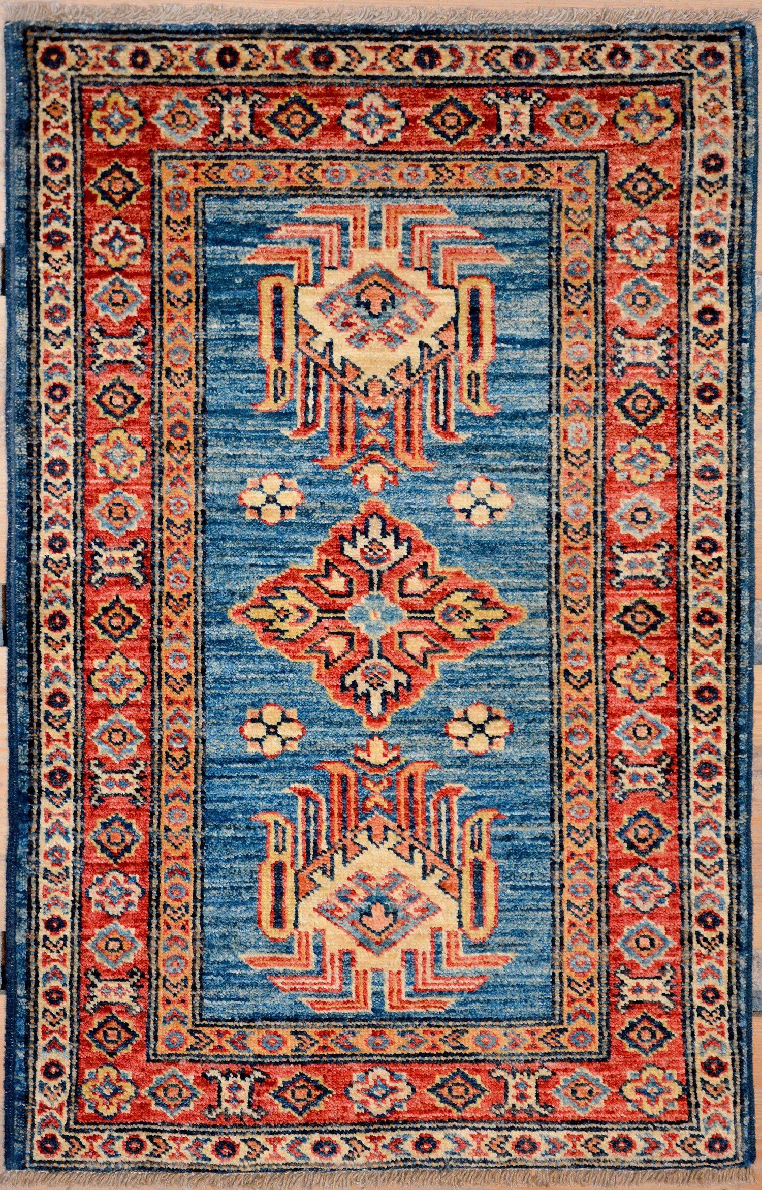 Turquoise Blue Oriental Kazak Rug 1 10 X 2 11 Ft No 11494 Http Alrug Com Turquoise Blue Oriental Kazak Rug 1 10 Rugs On Carpet Carpet Handmade Rugs