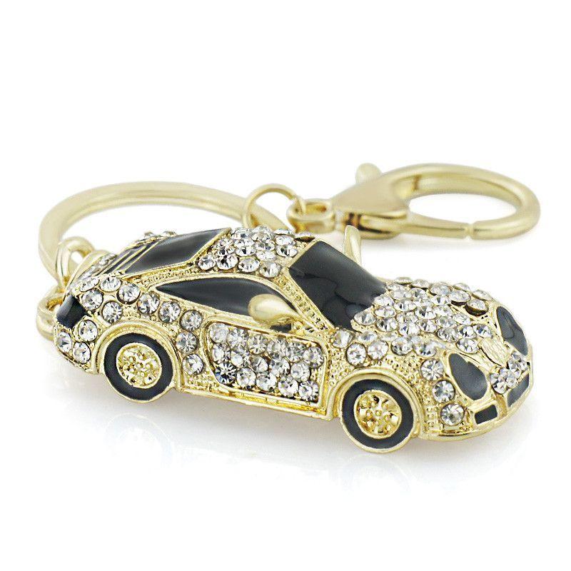 Cool Roadster Sports Car Crystal HandBag Pendant Trendy Keyring Keychain For Car Purse Bag Buckle Key Holder Key Chains