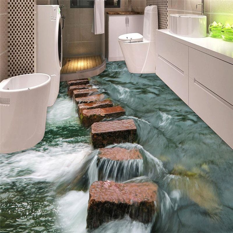 Buy Custom Photo Floor 3d Wallpaper Modern Art River Stones Bathroom