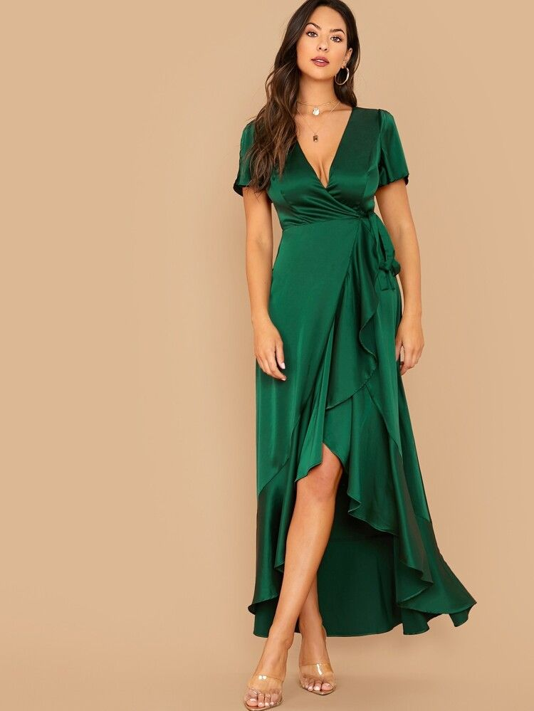 Split Sleeve Tie Side Wrap Satin Dress  SHEIN USA (With images)  Satin dresses, Embroidered