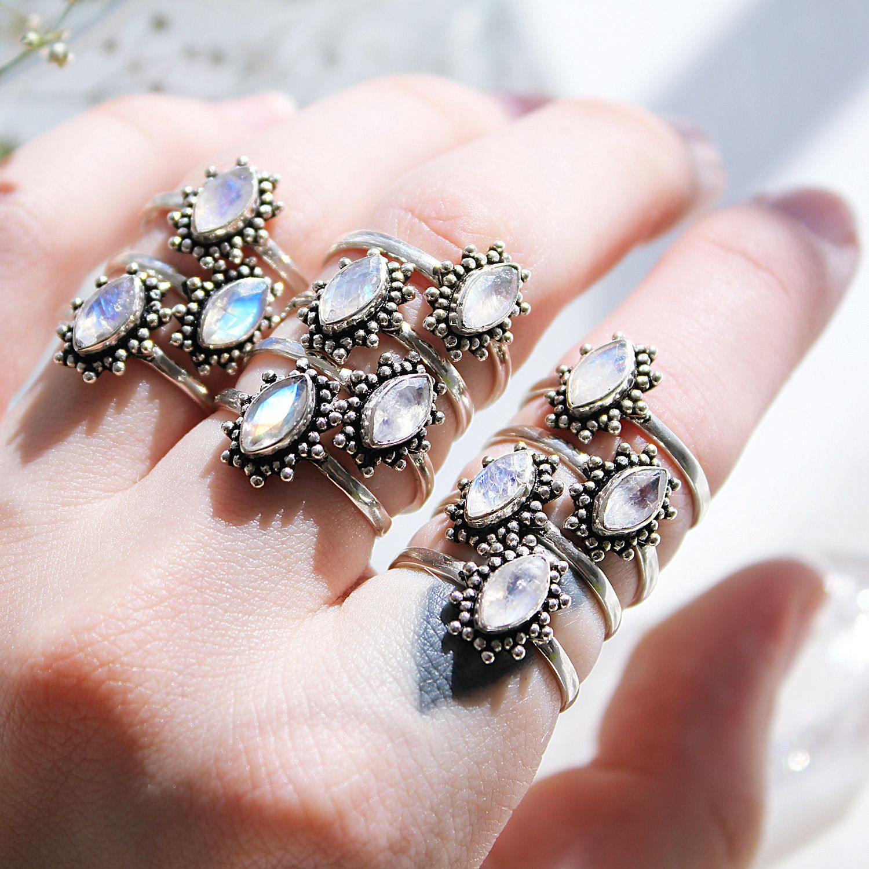 Midnight Lovers Rainbow Moonstone Ring