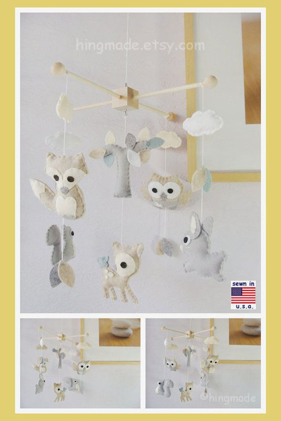 Woodland Baby Mobile Bunny Deer Fox Owl Squirrel Play