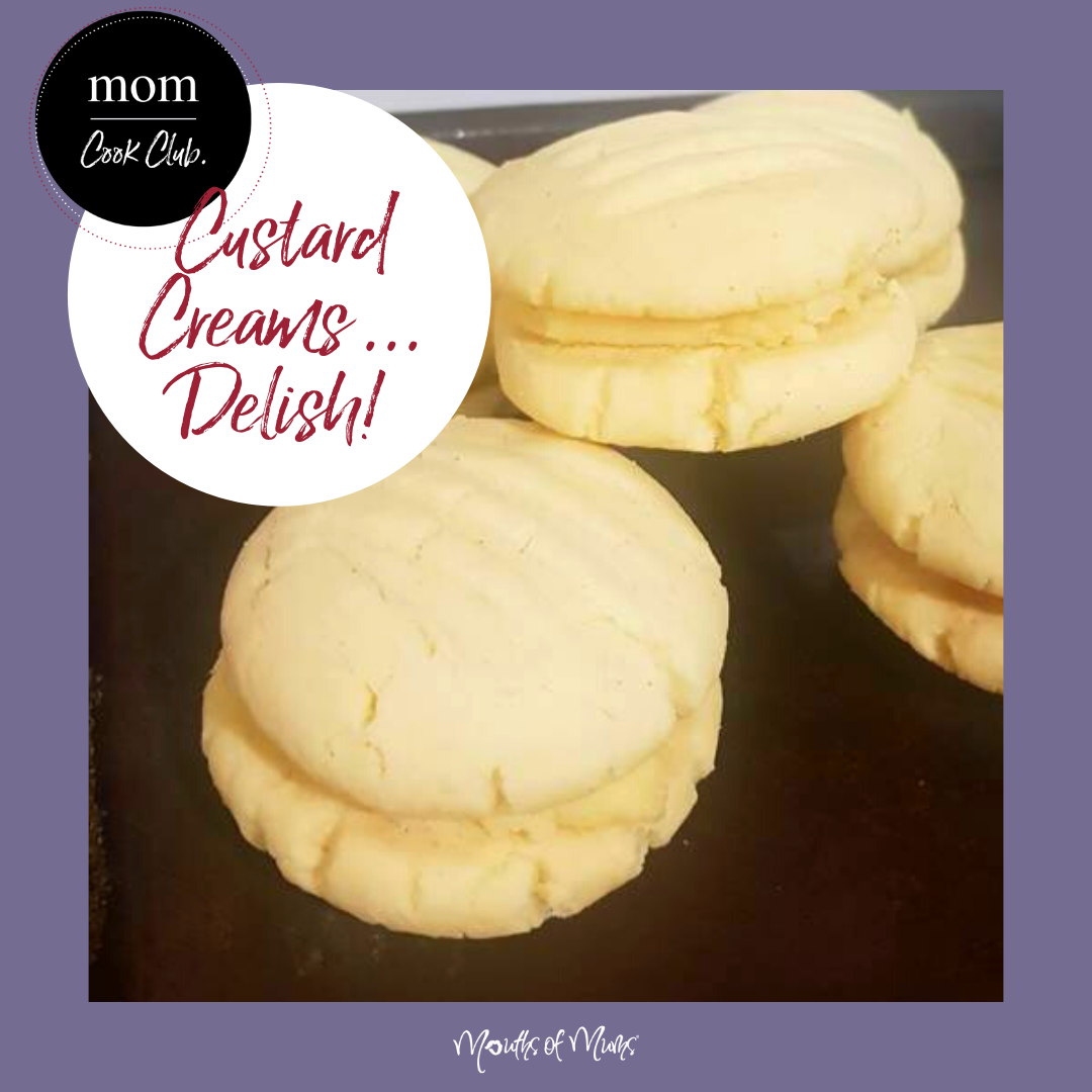 Who's back into backing for SCHOOL LUNCHBOXES? Here's a little sweet treat the kids will thank you for.  Most importantly be sure to hide enough so that you have one each day this week for your morning cupps! Custard Creams Recipe >  . . #momcookclub #mouthsofmums #nomnom #easyrecipe #delish #homemade #closetohome #sogood #custardcreams #biscuits #schoollunchbox #yum
