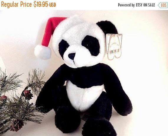 Santa Panda Bear Stuffed Plush Toy 10 Black White and  0d09434f27d8