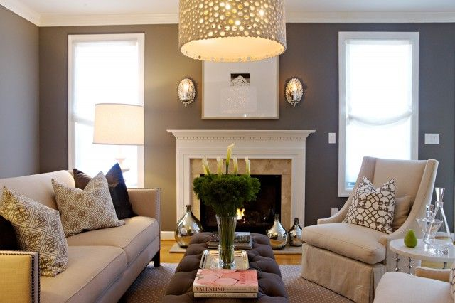 Chic Grey Living Room Design With Grey Purple Wall Paint Colour, Sunburst  Mirror, Grey