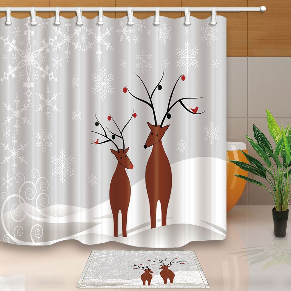 Details About Christmas Cartoon Deer Moose And Snow Bathroom