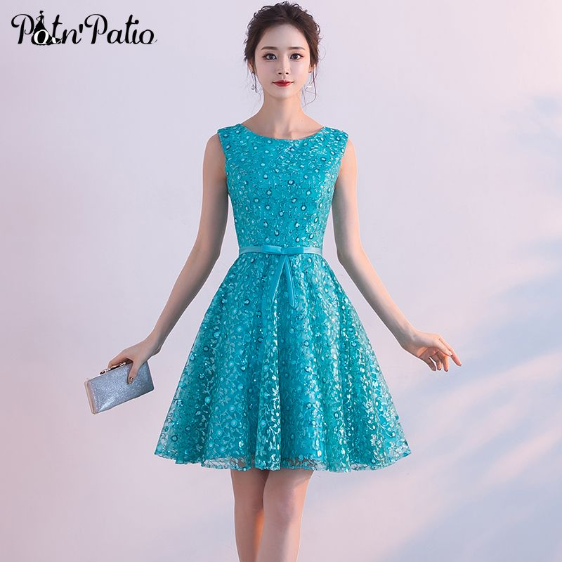 Potnpatio Turquoise Blue Short Homecoming Dresses Summar
