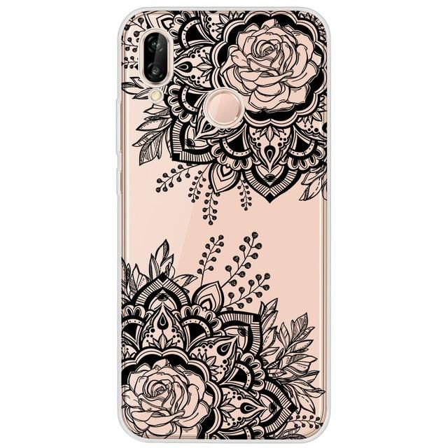 Flower Phone Case For Huawei P20 Case Silicone Cover For Huawei ...